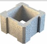 Блок столбовой 280х280х190 Серый